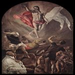 El Greco (1541-1614)  Resurrection  Oil on canvas, 1577-1579  82 5/8 x 50 3/8 inches (210 x 128 cm)  Church of Santo Domingo el Antiguo, Toledo, Spain